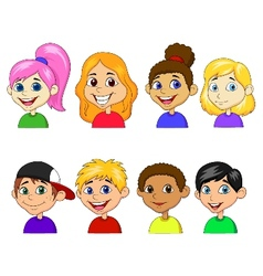 Boy and girl cartoon collection set vector