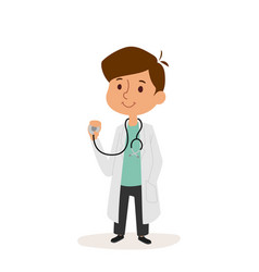 Doctor cartoon character person on white vector