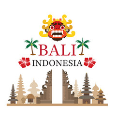 bali indonesia travel and attraction vector image