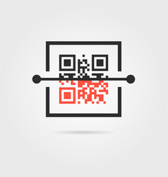 Qr scan icon with shadow vector