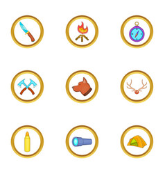 Hunt camp icons set cartoon style vector