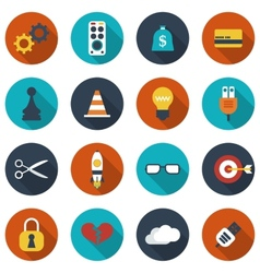 Modern flat icons collection with long shadow vector