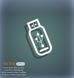 Usb flash drive icon symbol on the blue-green vector