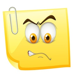 Yellow sticky note with angry face vector