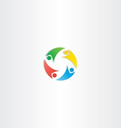 People circle teamwork logo icon element colorful vector