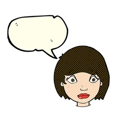 Cartoon worried female face with speech bubble vector