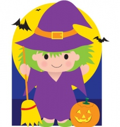 Witch kid vector