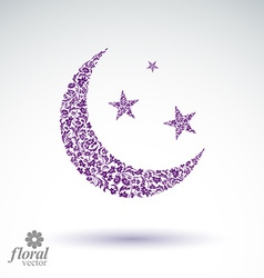 New moon placed on a starry sky beautiful art vector