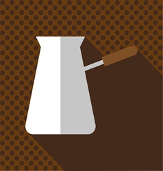 A white jug of hot coffee with a handle vector