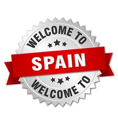 Spain 3d silver badge with red ribbon vector
