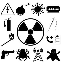 Dangerous and icons set flat style vector