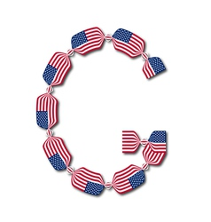 Letter g made of usa flags in form of candies vector