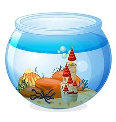 An aquarium with a palace vector image