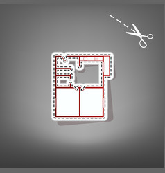 Apartment house floor plans red icon with vector