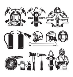 Badges and labels set for fire department vector