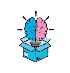Box with creative bulb brain inside vector