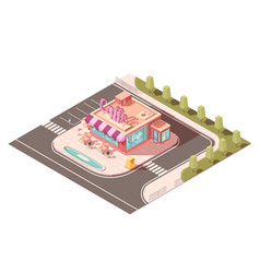 Cafe outside view isometric design vector