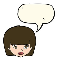 cartoon annoyed woman with speech bubble vector image