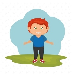 cartoon boy meadow green vector image