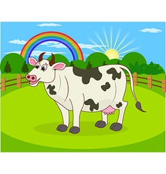 Cartoon cow and rural meadow vector image