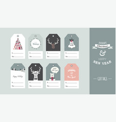 christmas gift tag set in retro style vector image vector image