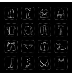Clothing and Dress Icons vector image vector image