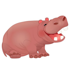 cute laughing hippopotamus vector image