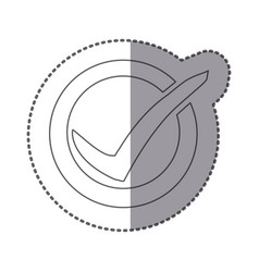 Figure symbol round with ok mark icon vector