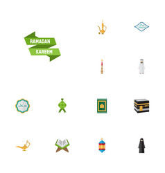 Flat icons islamic lamp mecca muslim woman and vector