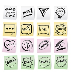 Hand draw cartoon on paper note stickers vector image vector image