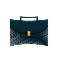Hand draw portfolio suitcase business color vector