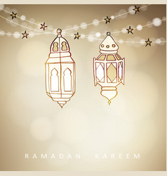 hand drawn illuminated arabic lamps lanterns with vector image vector image