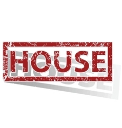 House outlined stamp vector