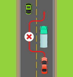 Lorry overtaking ban flat diagram vector
