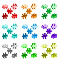 made from four colorful puzzle pieces vector image