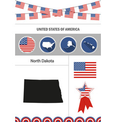 Map of north dakota set of flat design icons vector