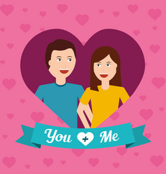 Portrait happy couple love with heart background vector
