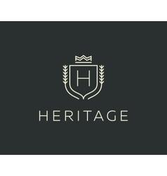 Premium monogram letter h initials ornate vector