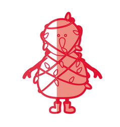 Red silhouette of snowman with boots and tangled vector