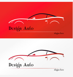 Red sport car silhouette logo vector
