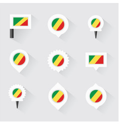 Republic of the congo flag and pins for vector