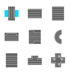 Roads icons set cartoon style vector