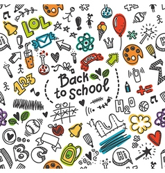 seamless pattern with many school supplies vector image