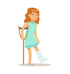 sick kid with cast on leg feeling unwell suffering vector image vector image