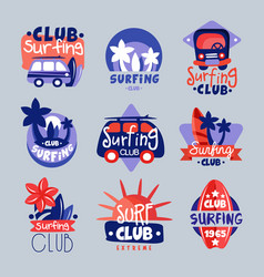 Surf club logo templates set surfing club emblem vector