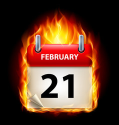 twenty-first february in calendar burning icon on vector image vector image