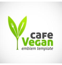 Vegan cafe concept symbol icon or logo template vector