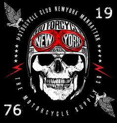 Vintage biker skull emblem tee graphic vector
