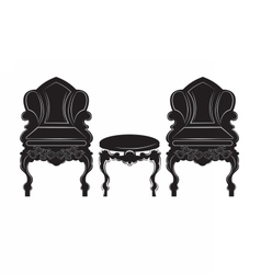 Vintage gothic style armchair and table furniture vector