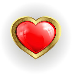 volumetric red heart with gold border vector image vector image